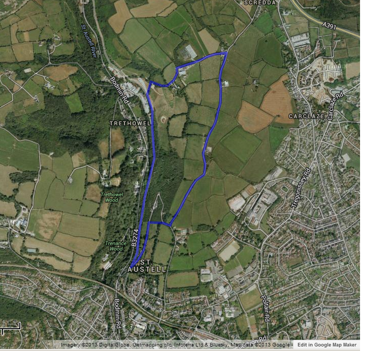 map of St Austell circular walk