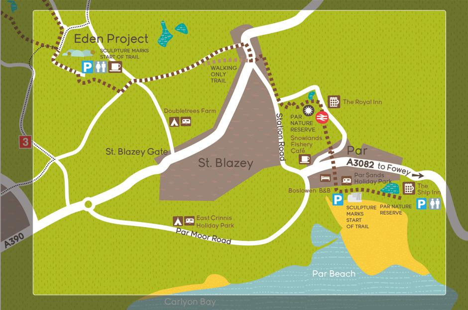 Map of the route from Par beach to the Eden Project